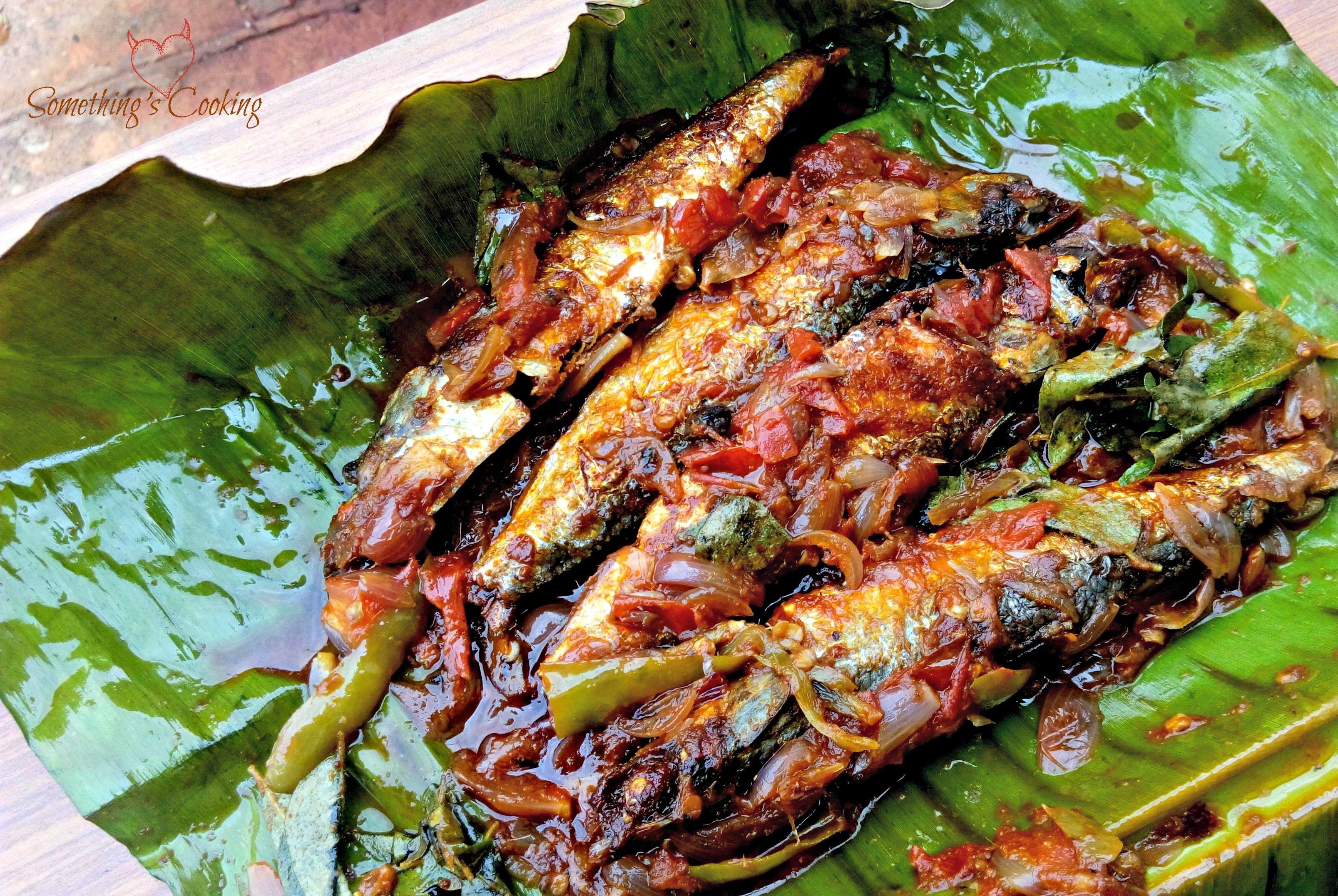 Mathi Pollichathu (Grilled Sardines in Banana Leaf)