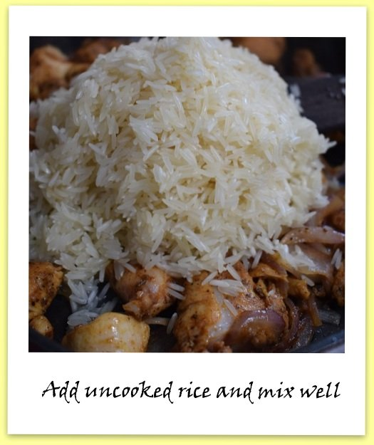 Instructions for making Spicy Moroccan Rice with chicken