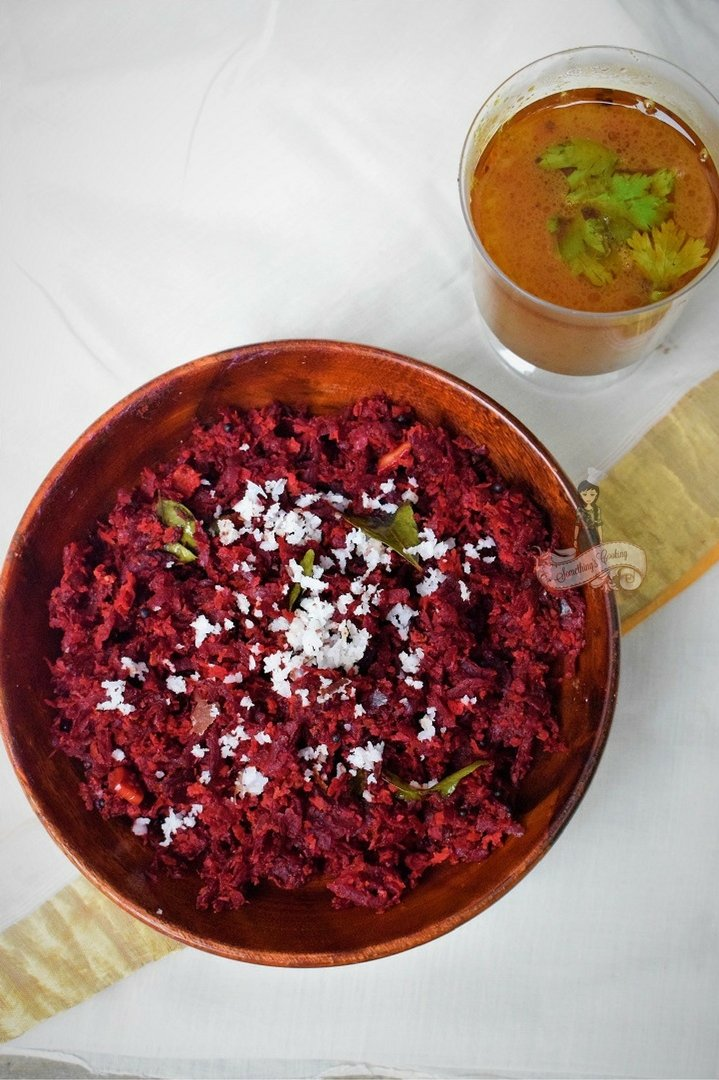 Beetroot with Crushed Coconut   Beetroot Thoran