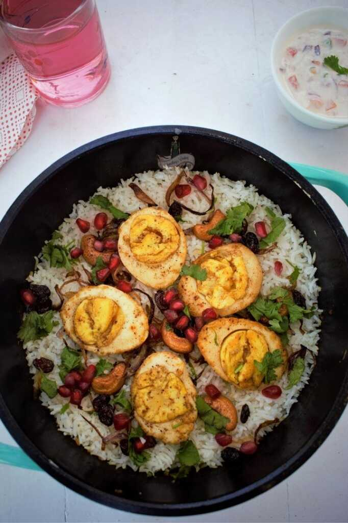 egg biriyani indian style recipe at home made with hardboiled eggs