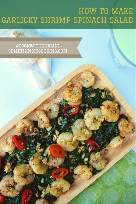 Shrimp Spinach Salad Pinterest somethingiscooking.com 10minute recipe