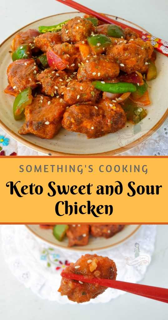 Keto Sweet and Sour Chicken Pin somethingiscooking.com