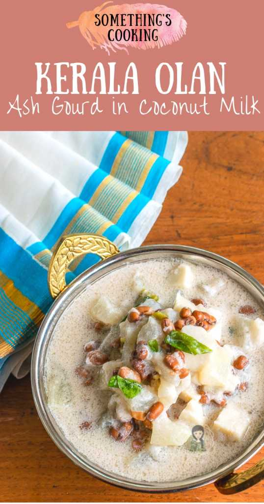kerala olan curry is made with white pumpkin, taro and blackeyed peas simmered in coconut milk