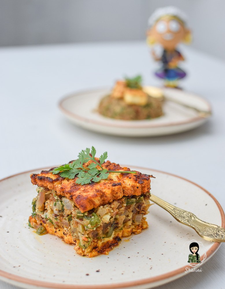 Keto Cottage Cheese Tofu Steak with Spiced Cauliflower Rice