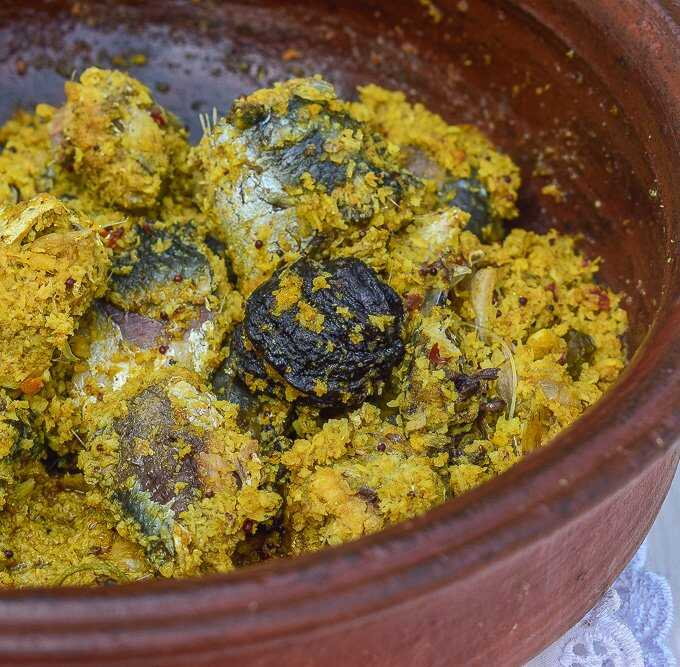 Mathi Peera is made with sardines. It can also be made with anchovies or Netholi