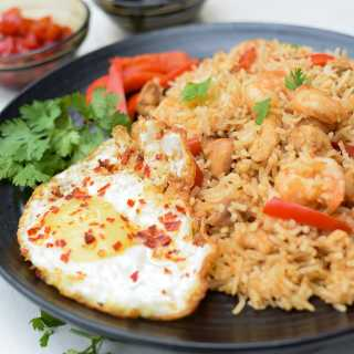 Nasi Goreng Seafood recipe with optional ingredients and substitutes