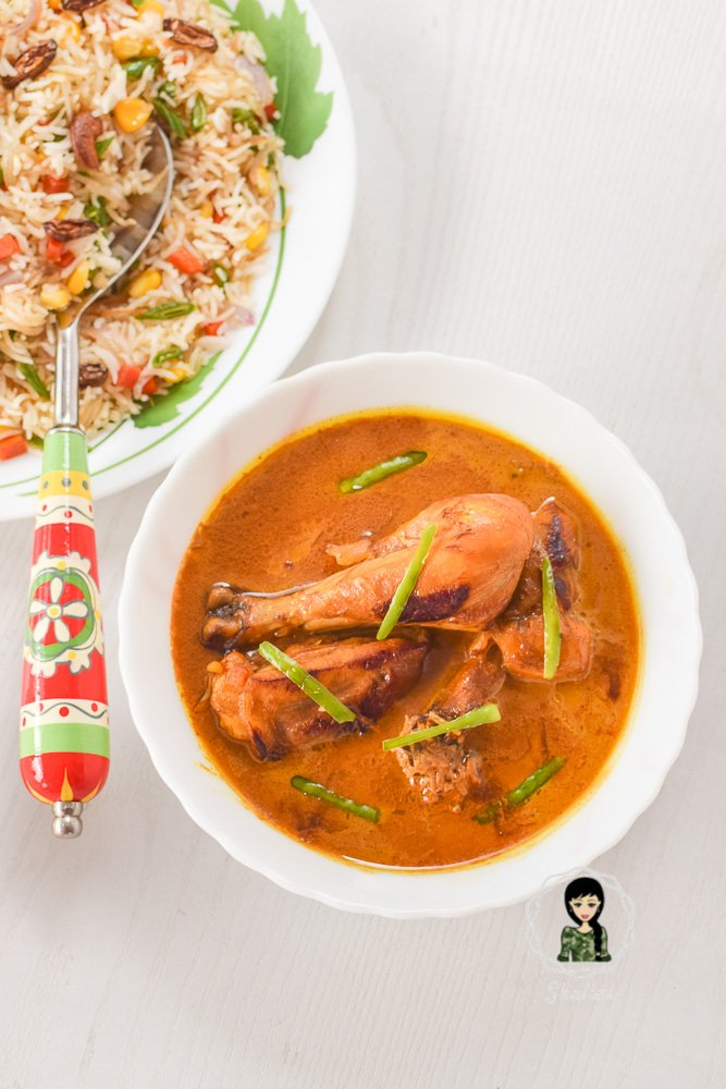 serve veg pulao with coconut curry chicken
