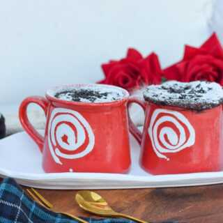 two red mug cakes