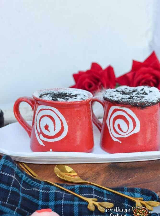 two red mug cakes