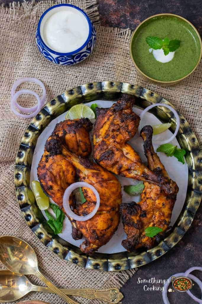 How to Make Tandoori Chicken in Air Fryer served with a bowl of pudina chutney