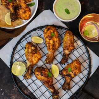 Chicken Air Fryer MurgTangdi Kebab with Mint Chutney