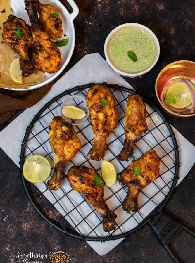 Chicken Air Fryer MurgTangdi Kebab with Mint Chutney