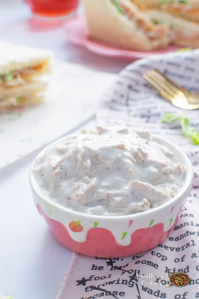 Mayo Chicken Sandwich Spread with mayo, cream, chicken