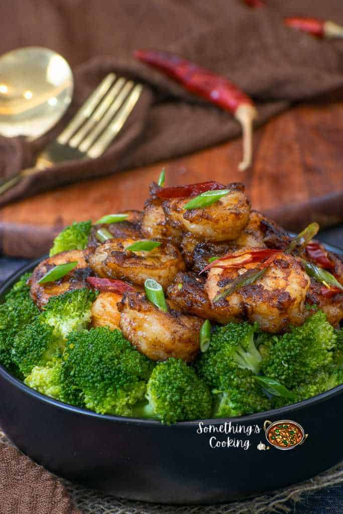honey garlic prawns with broccoli